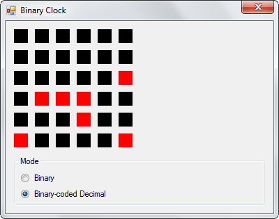 A Binary Clock using C# | Not a Designer